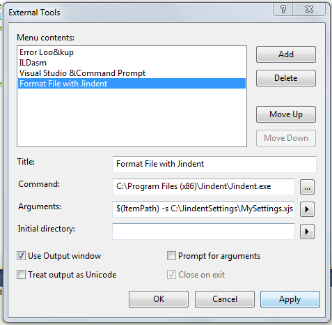 Add Jindent as an external tool to Visual Studio/Express